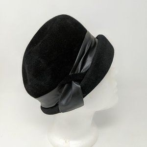Vintage Black Felt Faux Leather Trim Cloche Hat